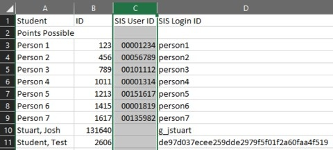 Image of excel cells with 8 digit University IDs