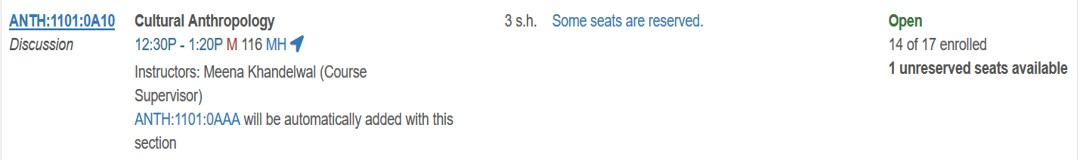 Calculating Reserved Seats for ANTH:1101:0A10 from MyUI