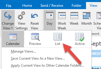 Calendar View by List