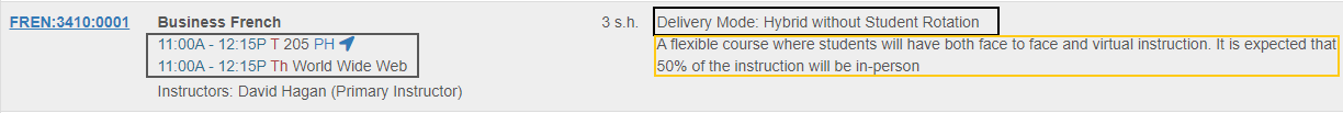 An image which shows the Delivery Mode, definition of the Delivery Mode, and Time/Location information on a Hybrid without Student Rotation course section.