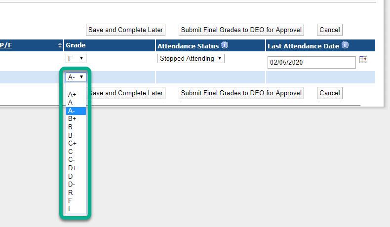 Image of grades drop-down menu