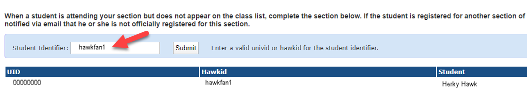 image of text field to report student not on roster